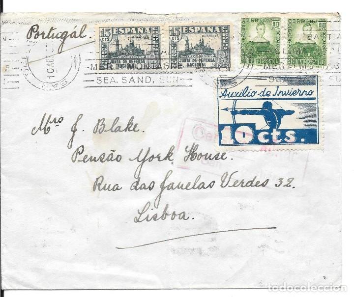 AUXILIO DE INVIERNO ARQUERO. EDIFIL 806 - 681. DE SAN SEBASTIAN A LISBOA - PORTUGAL 1937 (Sellos - España - Guerra Civil - De 1.936 a 1.939 - Cartas)