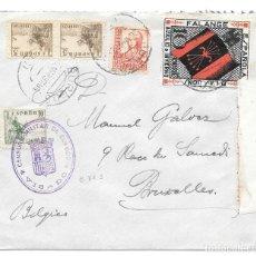 Sellos: AUXILIO DE INVIERNO FALANGE. EDIFIL 816 - 817 - 823. DE BURGOS A BRUSELAS 1937. Lote 221442952