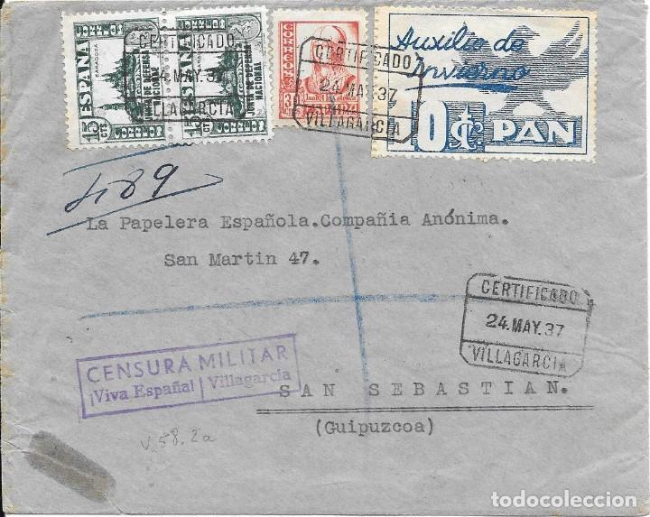AUXILIO DE INVIERNO AVE Y PAN. EDIFIL 806 - 823. DE VILLAGARCIA A SAN SEBASTIAN 1937 (Sellos - España - Guerra Civil - De 1.936 a 1.939 - Cartas)