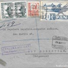 Sellos: AUXILIO DE INVIERNO AVE Y PAN. EDIFIL 806 - 823. DE VILLAGARCIA A SAN SEBASTIAN 1937. Lote 221443212