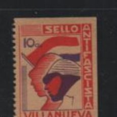 Sellos: VILLANUEVA, 10CTS. SELLO ANTIFASCISTA,. VER FOTO. Lote 221443576