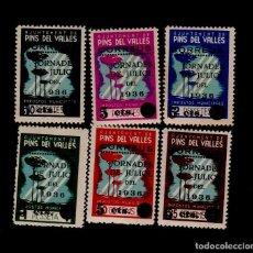 Sellos: CV- GUERRA CIVIL VIÑETAS DE PINS DEL VALLES SERIE COMPLETA TIPO II (NUMEROS FINOS) FESOFI Nº 7 - 1. Lote 221478536