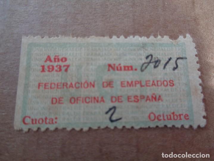 Sellos: U.G.T. Federación de Empleados de Oficina de España. 2 pts carmín y azul pálido - 1937 -guerra civil - Foto 2 - 221513561
