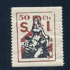 Sellos: CL3-49 GUERRA CIVIL VIÑETA DEL S.R.I. IGUAL AL G.G. Nº 1607 (TIPO 567) PERO DE VALOR 50 CTS, NO CAT. Lote 221517257
