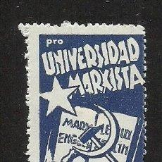 Sellos: 0037 GUERRA CIVIL VIÑETA PRO UNIVERSIDAD MARXISTA G.GUILLAMÓN Nº 2503 COLOR AZUL. Lote 221518580