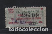 U.G.T. 1,30 PTAS. -EL BALUARTE- FED. SIDEROMETALURGICA,- CON NUMERACION-AÑO 1937. VER FOTO (Sellos - España - Guerra Civil - Viñetas - Usados)