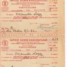 "Sellos: 1938 GENERALITAT CATALUNYA,""IMPOST SOBRE RADIODIFUSIÓ"" ABRIL MAIG JUNY UNITS. AVISO IMPAGO EN JUNIO. Lote 221549768"