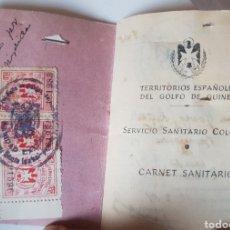 Sellos: ANTIGUO CARNET SANITARIO COLONIAL GOLFO GUINEA 1951 CON MUCHOS SELLOS VIÑETAS. Lote 221608751
