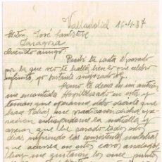 """Sellos: 1937 CARTA DE GUERRA DE UN TAL FUSTER AL AMIGO JOSÉ SANTISTEVE...""""...EXTRAYÉNDOME TODA LA METRALLA"""". Lote 221643453"""