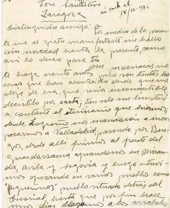 1936 MADRID CARTA MANUSCRITA A JOSÉ SANTISTEVE EN ZARAGOZA GUERRA CIVIL (INCOMPLETA TENGO 1 HOJA) (Sellos - España - Guerra Civil - De 1.936 a 1.939 - Cartas)
