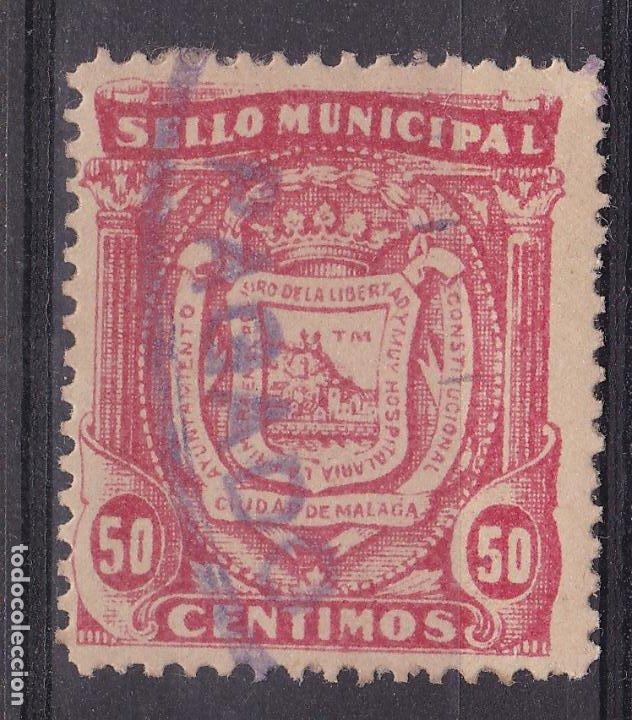 JJ5- FISCALES LOCALES .SELLO MUNICIPAL MALAGA 50 CTS (Sellos - España - Guerra Civil - Viñetas - Nuevos)