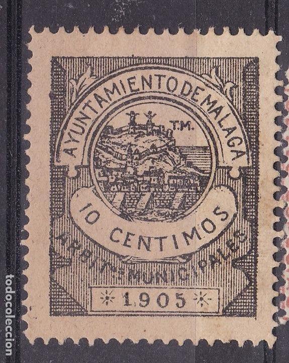 JJ5- FISCALES LOCALES .ARBITRIOS MUNICIPALES MALAGA 10 CTS 1905. SIN GOMA (Sellos - España - Guerra Civil - Viñetas - Nuevos)