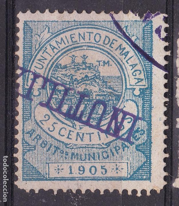 JJ5- FISCALES LOCALES .ARBITRIOS MUNICIPALES MALAGA 25 CTS 1905. (Sellos - España - Guerra Civil - Viñetas - Nuevos)