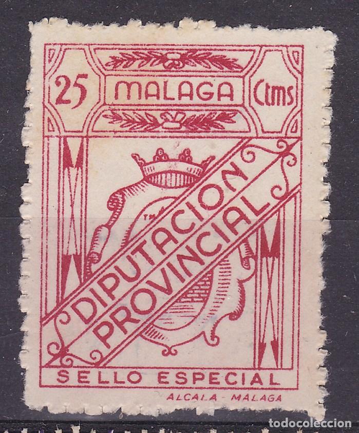 JJ5- FISCALES LOCALES .SELLO ESPECIAL DIPUTACIÓN PROVINCIA MALAGA 25 CTS (Sellos - España - Guerra Civil - Viñetas - Nuevos)
