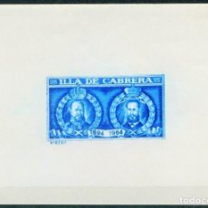 Sellos: VIÑETA, HOJA BLOQUE, ILLA DE CABRERA 1894, 1964, ISLAS BALEARES. Lote 221797103