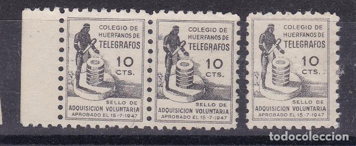 LL8- BENÉFICOS TELEGRAFOS 10 CTS VARIEDAD . FORMATO MINI 13 X 18 MM (Sellos - España - Guerra Civil - Viñetas - Nuevos)