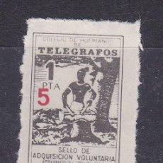 Sellos: LL8- BENÉFICOS TELEGRAFOS 1 PTA HABILITADO 5. FORMATO MINI 16 X 21 MM * CON FIJASELLOS. Lote 222010181
