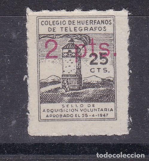 LL8- BENÉFICOS TELEGRAFOS 25 CTS HABILITADO 2 PTAS . FORMATO MINI 15 X 18 MM * CON FIJASELLOS (Sellos - España - Guerra Civil - Viñetas - Nuevos)
