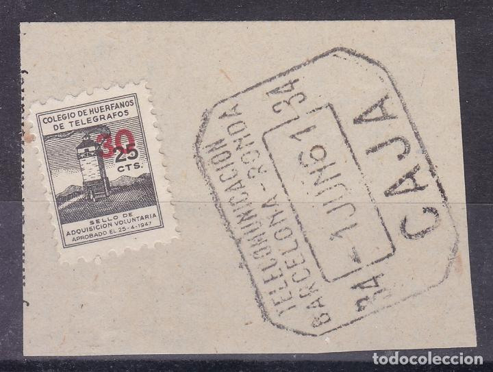 LL8- BENÉFICOS TELEGRAFOS 25 CTS HABILITADO 30 . FORMATO MINI 15 X 18 MM FRAGMENTO (Sellos - España - Guerra Civil - Viñetas - Nuevos)