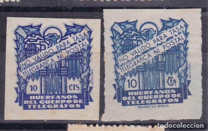 LL8- BENÉFICOS HUERFANOS TELEGRAFOS 10 CTS X 2 TIPOS . SIN GOMA (Sellos - España - Guerra Civil - Viñetas - Nuevos)