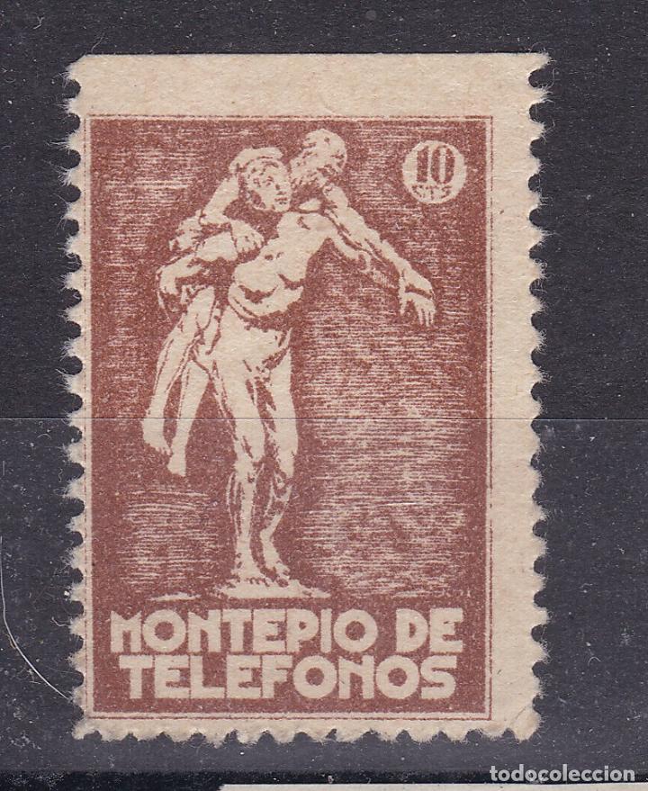 LL8-PARAFISCALES MONTEPIO TELEFONOS 10 CTS 35 X 23 MM ** SIN FIJASELLOS (Sellos - España - Guerra Civil - Viñetas - Nuevos)