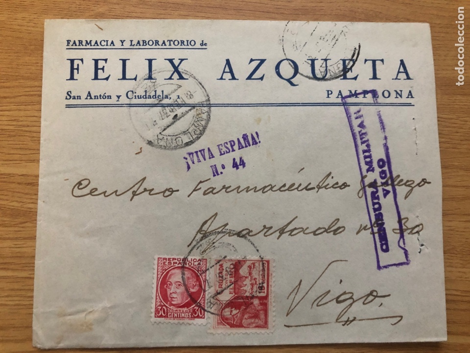 PAMPLONA A VIGO 1937. CRUZADA Y VIÑETA FALANGE AL DORSO (Sellos - España - Guerra Civil - De 1.936 a 1.939 - Cartas)