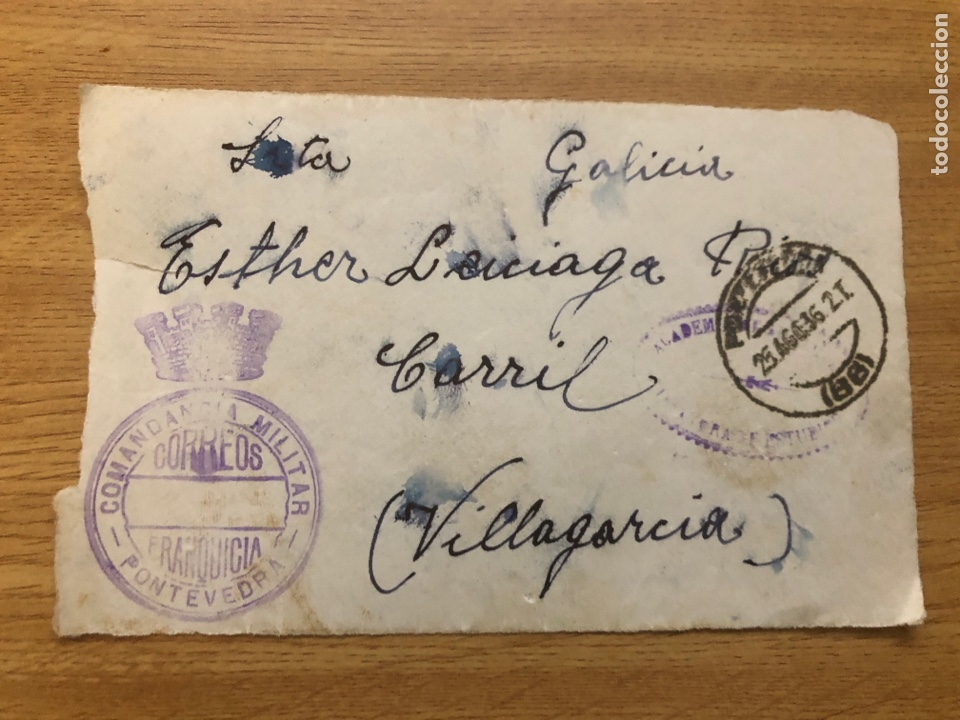 FRONTAL 26.08.1936 FRANQUICIA COMANDANCIA MILITAR PONTEVEDRA Y MARCA DE ACADEMIA (Sellos - España - Guerra Civil - De 1.936 a 1.939 - Cartas)