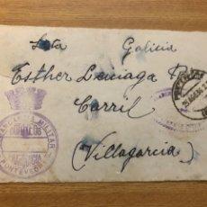 Sellos: FRONTAL 26.08.1936 FRANQUICIA COMANDANCIA MILITAR PONTEVEDRA Y MARCA DE ACADEMIA. Lote 222098438