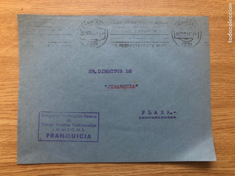 FRONTAL FRANQUICIA FALANGE NAVARRA 20.10.1937 RODILLO (Sellos - España - Guerra Civil - De 1.936 a 1.939 - Cartas)