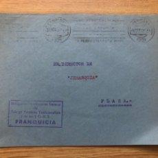 Sellos: FRONTAL FRANQUICIA FALANGE NAVARRA 20.10.1937 RODILLO. Lote 222098523