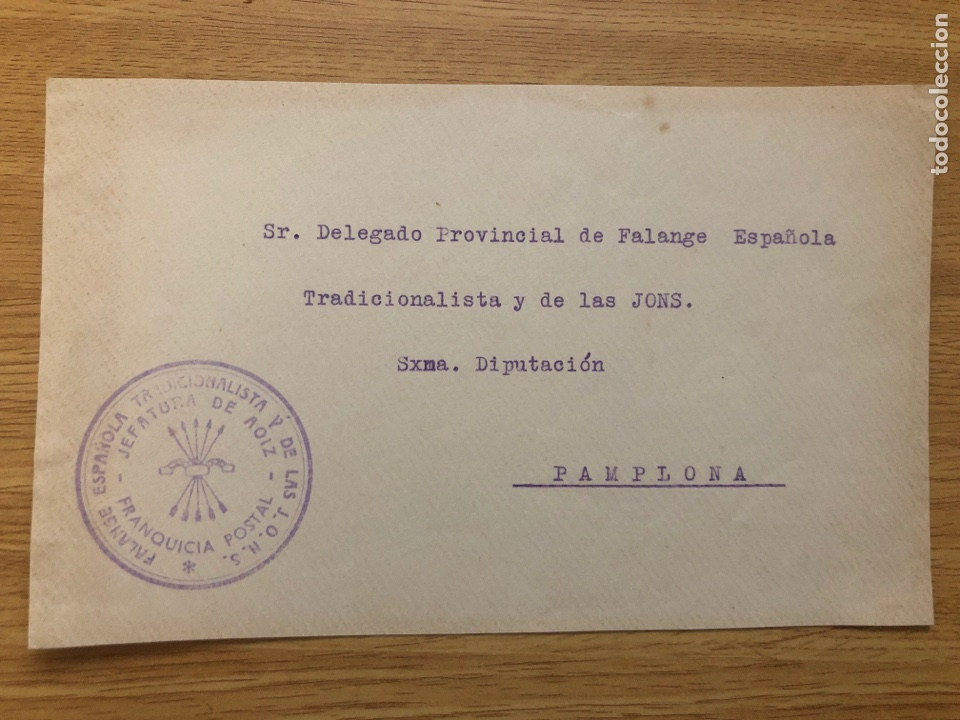 FRONTAL FRANQUICIA FALANGE AOIZ ( NAVARRA) (Sellos - España - Guerra Civil - De 1.936 a 1.939 - Cartas)