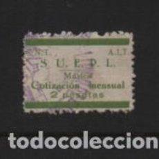 Sellos: VIÑETA- C.N.T. A.I.T. 2 PTA- S.U.E.P.L. VERDE -COTIZACION MENSUAL- NO CATALOGADO-VER FOTO. Lote 222100195