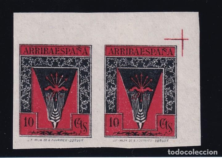 ALLEPUZ FALANGE 121S PAREJA SIN DENTAR ESQUINA VARIEDAD LUJO FOURNIER BURGOS (Sellos - España - Guerra Civil - De 1.936 a 1.939 - Nuevos)
