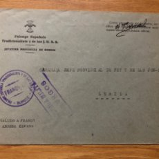 Sellos: FRANQUICIA FALANGE BURGOS. BURGOS A LÉRIDA 1937. Lote 222200525