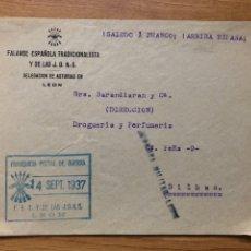 Sellos: FROBTAL FRANQUICIA FALANGE LEON 1937 LEON A BILBAO. Lote 222200646