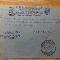 Sellos: FRONTAL FRANQUICIA FALANGE ISLA DE LA PALMA A PAMPLONA 1937 DELEGACIÓN INSULAR PRENSA Y PROPAGANDA. Lote 222201046