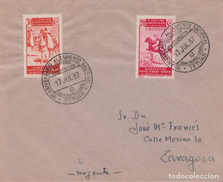 CARTA URGENTE - 1º ANIVERSARIO DEL ALZAMIENTO NACIONAL - TETUAN (Sellos - España - Guerra Civil - De 1.936 a 1.939 - Cartas)