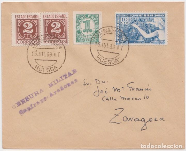 CENSURA CANFRANC ARAÑANES - HUESCA (Sellos - España - Guerra Civil - De 1.936 a 1.939 - Cartas)