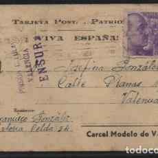 Sellos: POSTAL- CARCEL MODELO DE VALENCIA- CENSURA PRISION CELULAR VALENCIA- VER FOTOS. Lote 222228317