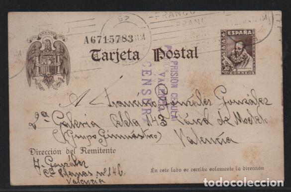 POSTAL- CARCEL MODELO DE VALENCIA-DOBLE CENSURA PRISION CELULAR VALENCIA- VER FOTOS (Sellos - España - Guerra Civil - Locales - Usados)