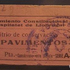 Sellos: GUERRA CIVIL. HOSPITALET DE LLOBREGAT. PAVIMENTOS. 1 PTA. MUY ESCASO. Lote 222251116