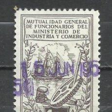 Sellos: 9354E-ANTIGUO SELLO FISCAL MUTUALIDAD DE FUNCIONARIOS DEL MINISTERIO DE COMERCIO BARCOS 1 PESETA GRA. Lote 222359997