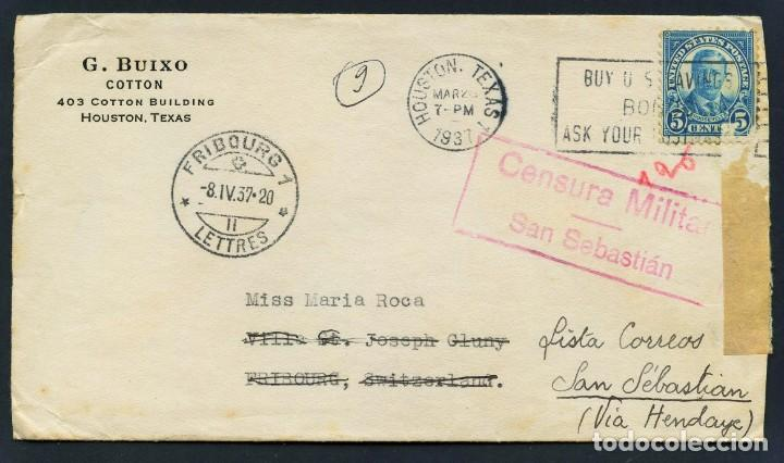 GUERRA CIVIL, SOBRE, CIRCULADO DESDE TEXAS (ESTADOS UNIDOS) A SAN SEBASTIÁN, 1937 (Sellos - España - Guerra Civil - De 1.936 a 1.939 - Cartas)
