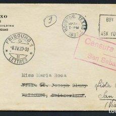 Sellos: GUERRA CIVIL, SOBRE, CIRCULADO DESDE TEXAS (ESTADOS UNIDOS) A SAN SEBASTIÁN, 1937. Lote 222528830