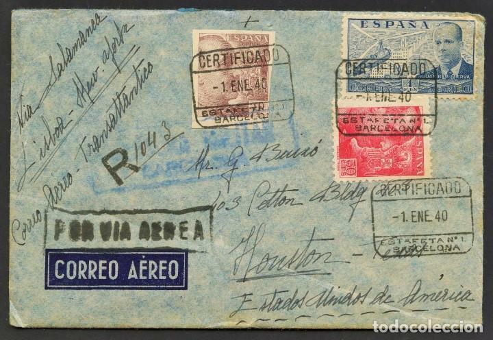 GUERRA CIVIL POST, SOBRE, CORREO AÉREO VIA SALAMANCA, CIRCULADO BARCELONA A HOUSTON, 1940 (Sellos - España - Guerra Civil - De 1.936 a 1.939 - Cartas)