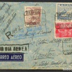 Sellos: GUERRA CIVIL POST, SOBRE, CORREO AÉREO VIA SALAMANCA, CIRCULADO BARCELONA A HOUSTON, 1940. Lote 222535781
