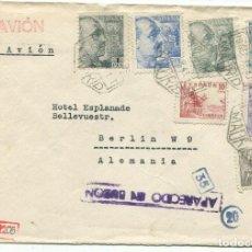 Sellos: SOBRE CON RARA MARCA APARECIDO EN BUZON. MADRID 1943 A ALEMANIA POR AVION, CENSURA MILITAR ALEMANA. Lote 222946430