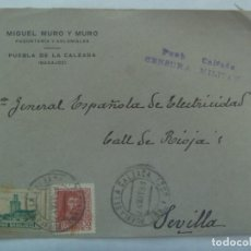 Sellos: GUERRA CIVIL: CARTA DE MIGUEL MURO, PUEBLA CALZADA A SEVILLA, SELLO Y VIÑETA PRO BADAJOZ. 1938. Lote 223056690