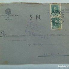 Sellos: GUERRA CIVIL : CARTA AYUNTAMIENTO DE AVILES A SEVILLA, SELLOS Y VIÑETA ASTURIAS POR LA PATRIA. 1938. Lote 223076705