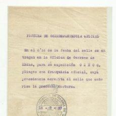 Timbres: FACTURA CORRESPONDENCIA OFICIAL 1937 FRANQUICIA MILITAR COMANDANCIA DE MARINA IBIZA. Lote 223251288